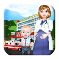 Pregnant Doctor Examines Newborn Baby android app icon
